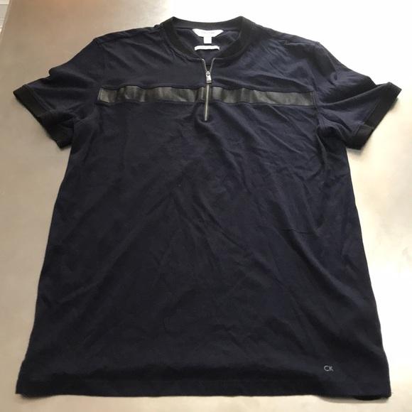 Klein L Faux Leather Calvin Polo Size Trim Zipper vNn8ymOP0w
